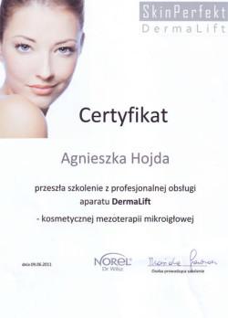 Kosmetyczka Poznań - Agnieszka Hojda - certyfikat DermaLift