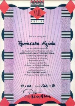 Kosmetyczka Poznań - Agnieszka Hojda - dyplom Alessandro Nail