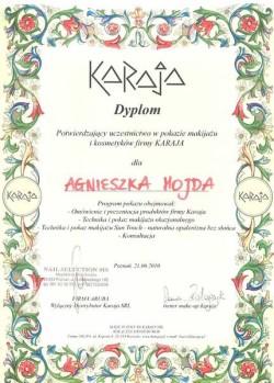Kosmetyczka Poznań - Agnieszka Hojda - dyplom KARAJA
