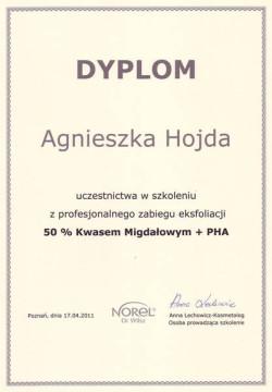 Kosmetyczka Poznań - Agnieszka Hojda - dyplom Kwas Migdałowy