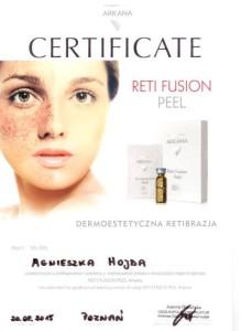 Retibrazja dermoestetyczna - Gabinet kosmetyczny - Kosmetyczka Poznań - Reti Fusion Pill - certyfikat